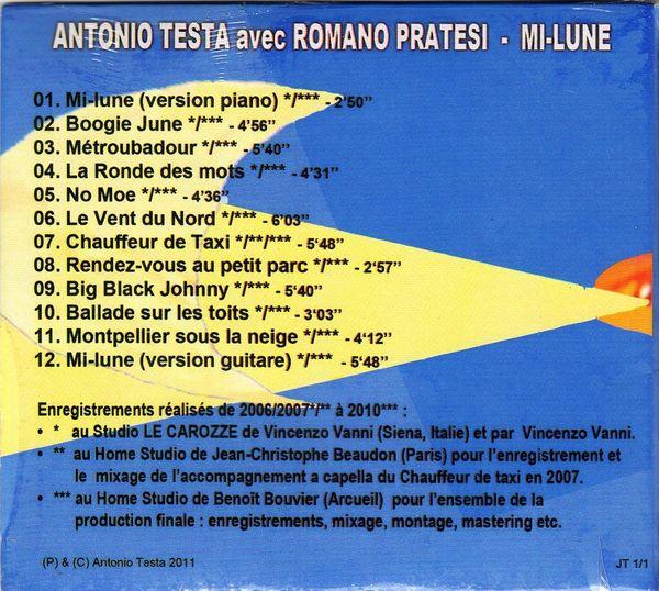 Album Mi-Lune Antonio Testa avec Romano Pratesi - 2011 -Verso